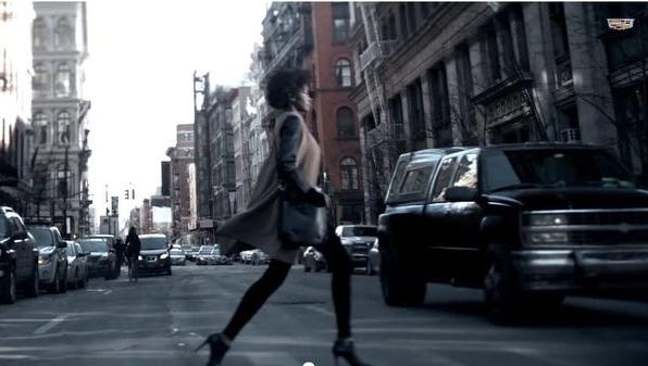 The Cadillac ad, to appear during Sunday's Academy Awards telecast, features a slow-motion montage of New York City street scenes.