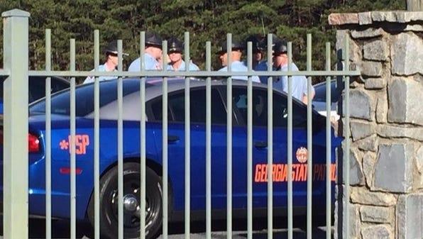 Georgia State Patrol officers gather at Stone Mountain Park in Georgia on Saturday, April 23, 2016.