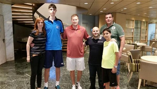 Iowa State Greek recruit Georgios Tsalmpouris poses with Fred Hoiberg, ISU  assistant Matt Abdelmassiah and his family when the Cyclone staff visited Athens, Greece in JUne.