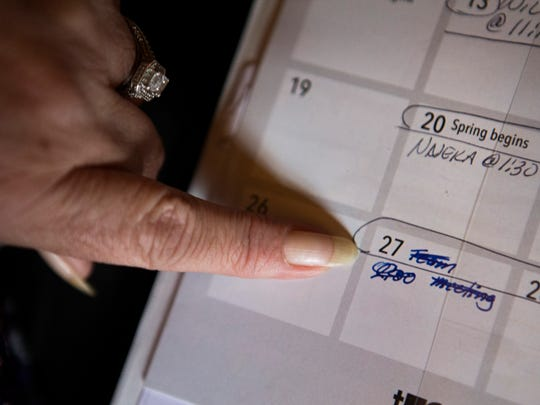 Debbie Childers keeps March 27 marked in the calendar she carries while looking for homes as a constant reminder of her deadline to find a new home for her family. March 14, 2017