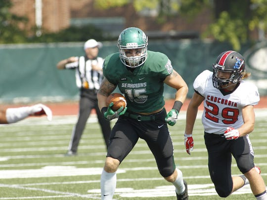 Seton Catholic Central graduate Caleb Scepeniak caught a 12-yard touchdown pass last week for Wagner College.