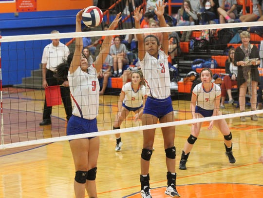 San Angelo Central High School's Abigayle Rivera (9) and Kaleigh Ochinang helped the Lady Cats win their first four matches at the Duncanville Tournament of Champions on Friday. Central is now 6-0 on the year.