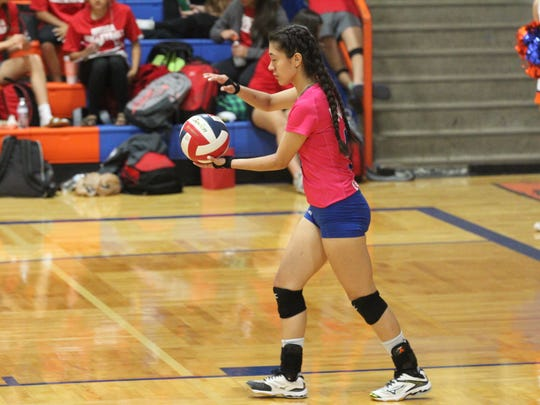 Central High School's Analisa Rios played her final match at Babe Didrikson Gym on Senior Night against Odessa High in District 2-6A play on Tuesday, Oct. 24, 2017. Before the match, she sang the National Anthem.