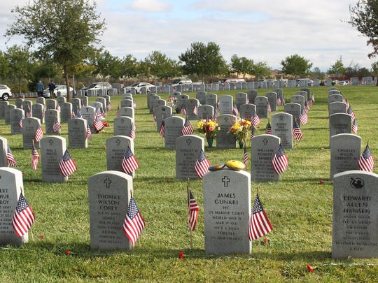Each of the gravestones at the Northern California Veterans Cemetery had an American flag placed in honor of the veterans' service to their country.
