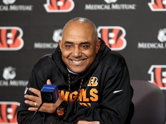 """Cincinnati Bengals head coach Marvin Lewis address the media Monday December 18, 2017 at Paul Brown Stadium. Lewis said the reports on yesterday of him leaving the Bengals didn't come from him. """"We're going to address next year when next year comes"""", Lewis said."""