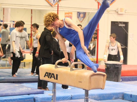 Central High School's Hendrix Lancaster received a 9.30 on pommel horse and tied for sixth place in a meet against Odessa Permian and Odessa High at the James R. White Gymnastics Center on Thursday, March 1, 2018.