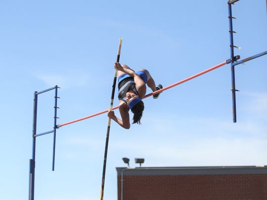 Lake View High School's Veronica Diaz clears the bar during competition Thursday, April 5, 2018, in the girls pole vault at the District 4-5A Track and Field Championships at San Angelo Stadium. Diaz won the title to claim her second district gold medal in the event.