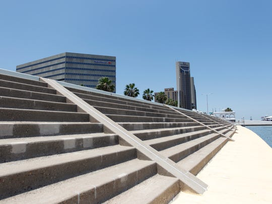 The seawall in downtown Corpus Christi, designed to