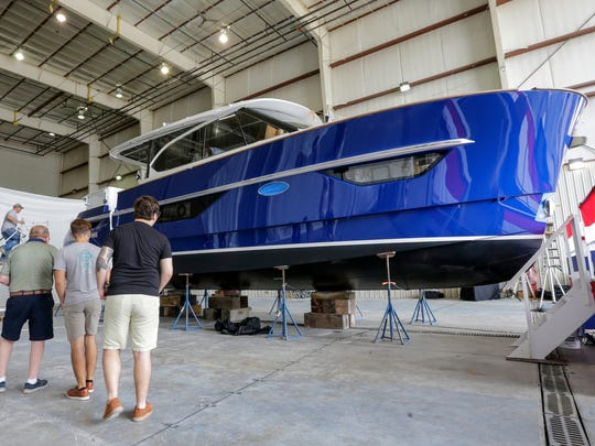 Burger Boat Company christens their first Burger 48 Cruiser yacht at the Burger shipyard Monday, June 18, 2018, in Manitowoc, Wis. Josh Clark/USA TODAY NETWORK-Wisconsin