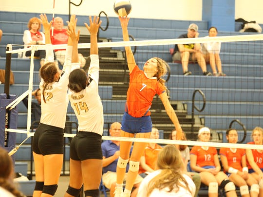 San Angelo Central High School's Steely Poss helped lead the Lady Cats to a win against Bushland in the third-place match of the Gold Division of the Nita Vannoy Memorial Volleyball Tournament at Lake View's Ben Norton Gym on Saturday, Aug. 18, 2018.