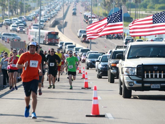 Traffic is backed up for miles in May 2016 as runnersmake