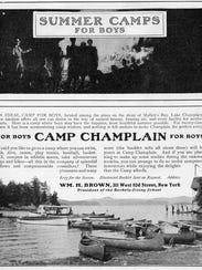An ad for Camp Champlain for boys in Malletts Bay.