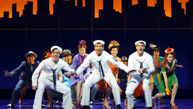 """Front row, from left: Clyde Alves, Tony Yazbeck and Jay Armstrong Johnson perform in """"On the Town,"""" in New York."""