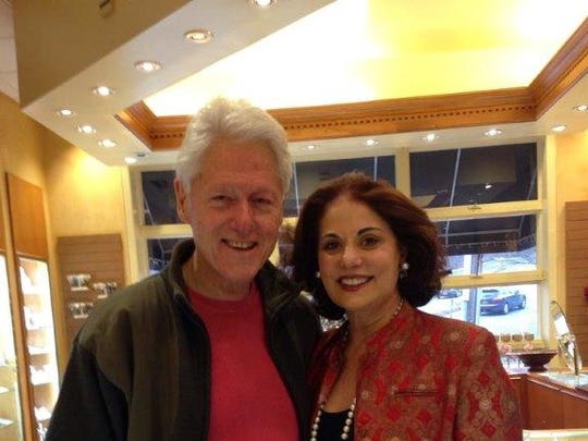 Bill Clinton with Varda Singer at ICD Contemporary Jewelry Store in Chappaqua