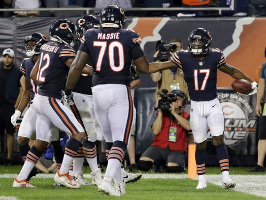 Chicago Bears wide receiver Anthony Miller (17) celebrates a touchdown with his teammates  against the Seattle Seahawks Monday, Sept. 17, 2018, in Chicago.