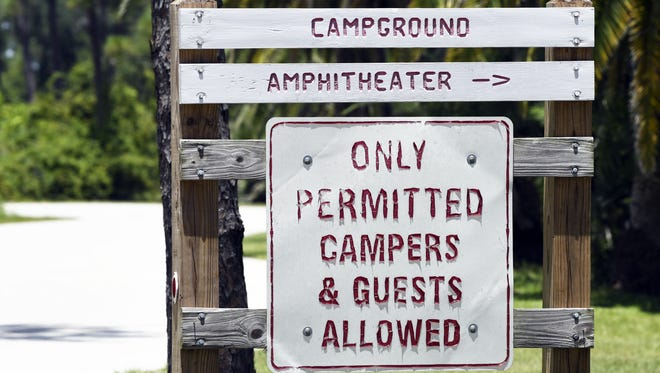 A directional sign at the Wickham Park Campground in Melbourne.