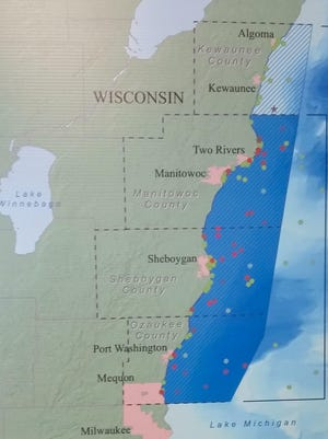 This display shows the proposed Wisconsin-Lake Michigan National Marine Sanctuary.