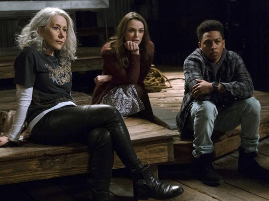 "Helen Mirren, from left, Keira Knightley and Jacob Latimore star in ""Collateral Beauty."""