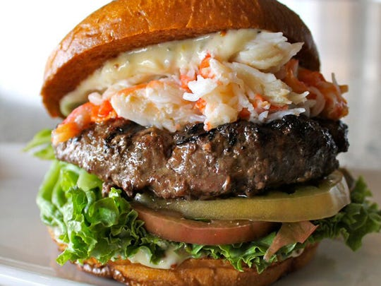 The Surf and Turf burger from High Tide Seafood Bar