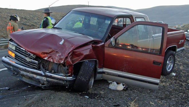 The Nevada Highway Patrol released this photograph of a multiple-vehicle crash on Interstate 80 near USA Parkway.