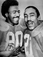 Jamie Williams (left) and Roger Craig were teammates at Davenport Central, Nebraska and the San Francisco 49ers.