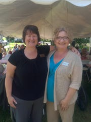 Nurse managers Liza Rixon and Felicia Stinchfield attend the Pillsbury Senior Communities 30th anniversary celebration in South Burlington.