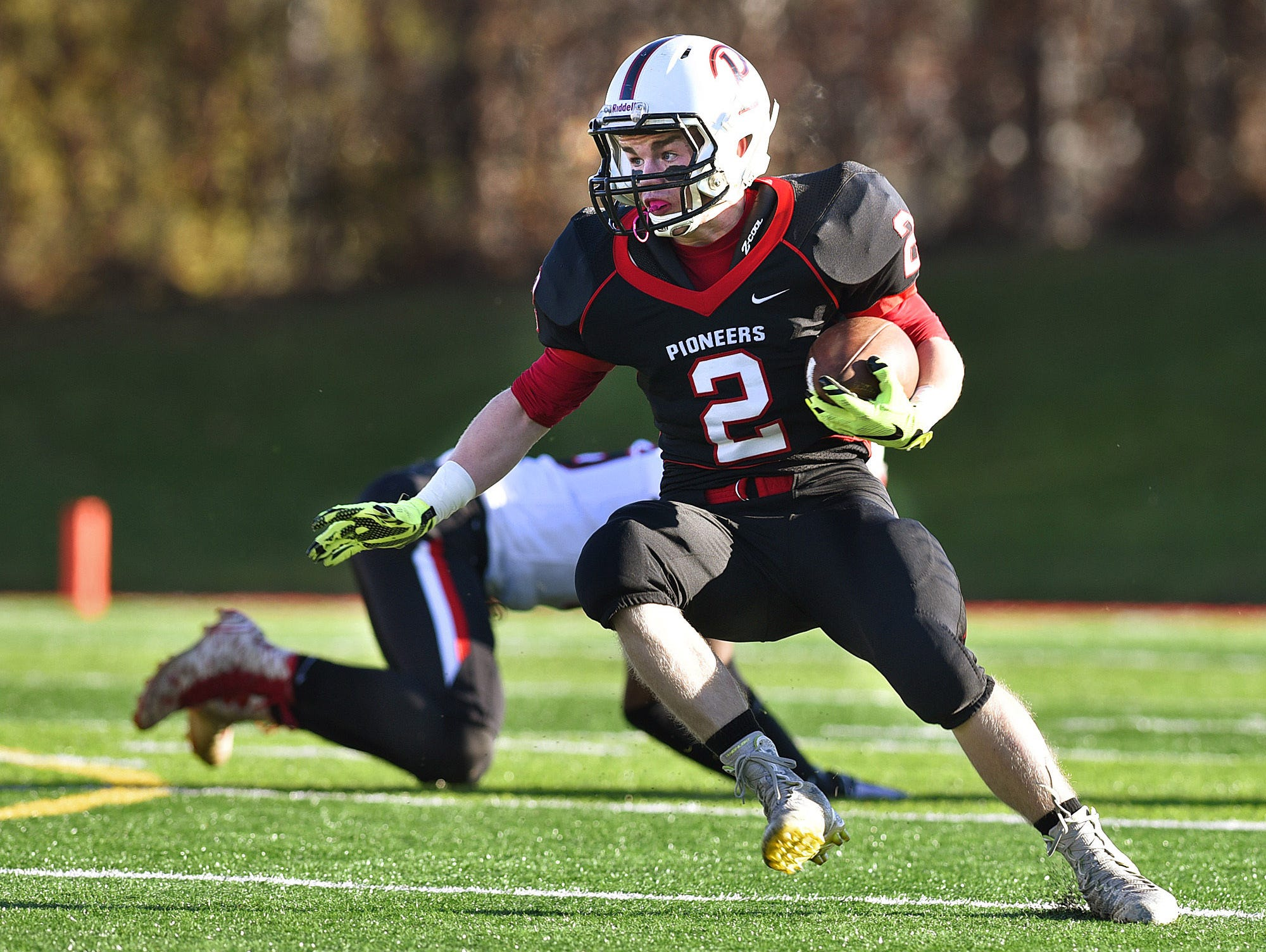 Pierz's Derick Hall breaks an Annandale tackler and looks for an open lane to run in the first half Oct. 4 at Husky Stadium. The PIoneers play Tri-City United in the Class 3A state semifinals at 7 p.m. Friday at Park Center High School in Brooklyn Park.
