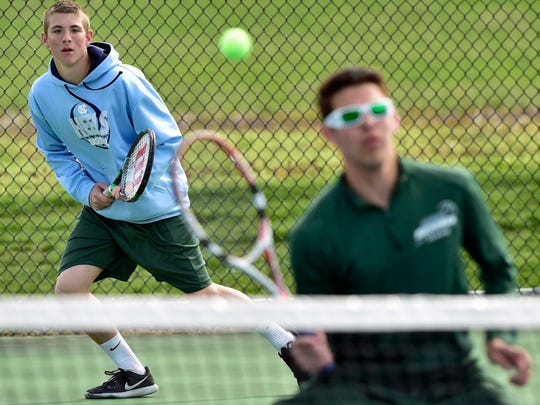 James Buchanan's doubles team Micah Wise, lef, and Josh Summers (pictured) defeated Tyler Myers and Billy Myers 6-3,  6-4 on Wednesday, April 6, 2016. The Rockets won 4-1.