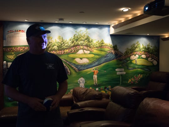 "View of a golf scene mural at the home of Steve ""Monty"""