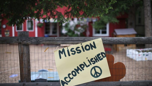 A sign showing support for Sgt. Bowe Bergdahl sits in front of a day care center along Main Street on June 2, 2014 in Hailey, Idaho.