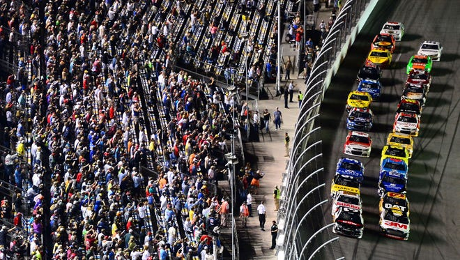 Austin Dillon (3) and Greg Biffle (16) lead the pack during the first of two duel races at Daytona last year.