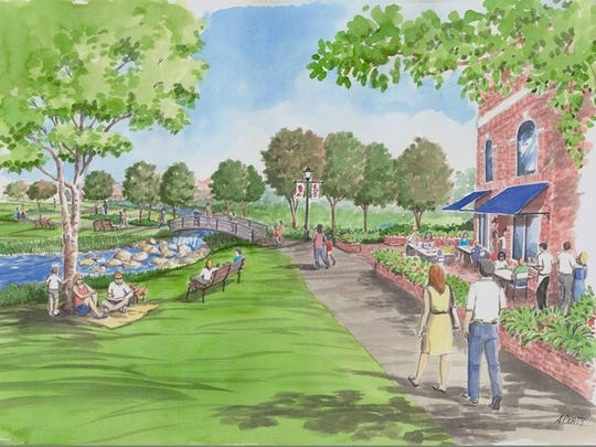 A rendering of the proposed restaurant from 2013. An artist's rendering of how the old city electric building/electric plant would look in the new Cascades Park. In summer 2011, city officials were considering whether to spend at least $700,000 to renovate the building, constructed in 1921.