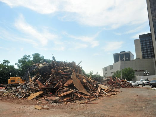 A large pile of debris is all that remains from knocking down the old Lincoln-Mercury dealership on Speedwell Avenue in Morristown.