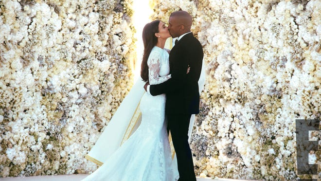 Kim Kardashian and Kanye West wed in Florence, Italy, on May 24, 2014.  HANDOUT MANDATORY CREDIT E! News  MUST USE Watermark. [Via MerlinFTP Drop]