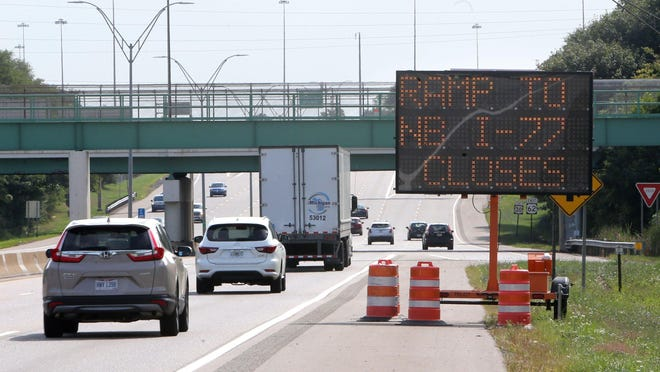 A sign on U.S. Route 30 eastbound alerts motorists to the future closure of the ramp to I-77 north. The ramp will be shut down Monday for two years.