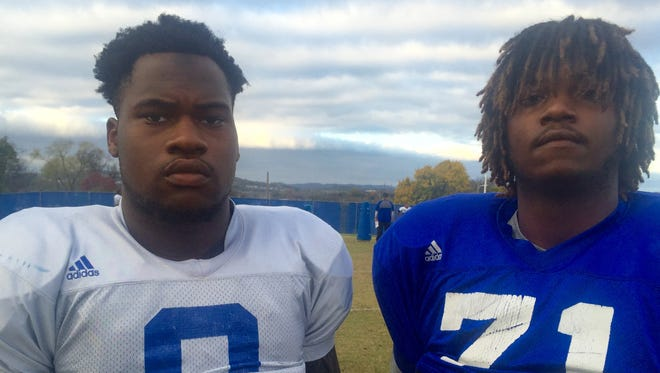 Tennessee State's Edenezer Ogundeko, left, and Shaq Anthony both transferred from Clemson, which is No. 1 in the College Football Playoff rankling.