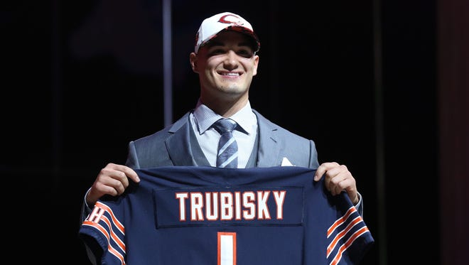 Mitchell Trubisky (North Carolina) is selected as the number 2 overall pick to the Chicago Bears in the first round the 2017 NFL Draft at Philadelphia Museum of Art.