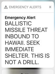 This screenshot shows the actual emergency warning