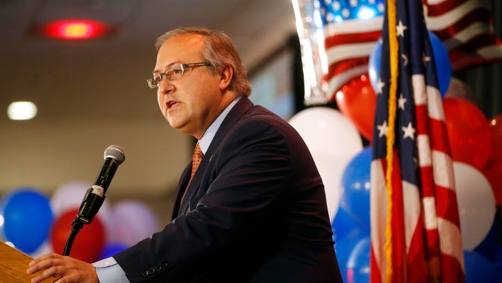 Rep. David Young thanks his supporters Tuesday, Nov. 8, 2016, during the Republican Election Night Party in downtown Des Moines.