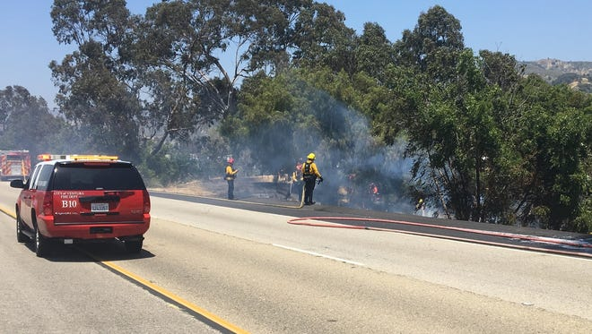 Crews put out a fire along Highway 33 on Friday near Ventura, officials said.