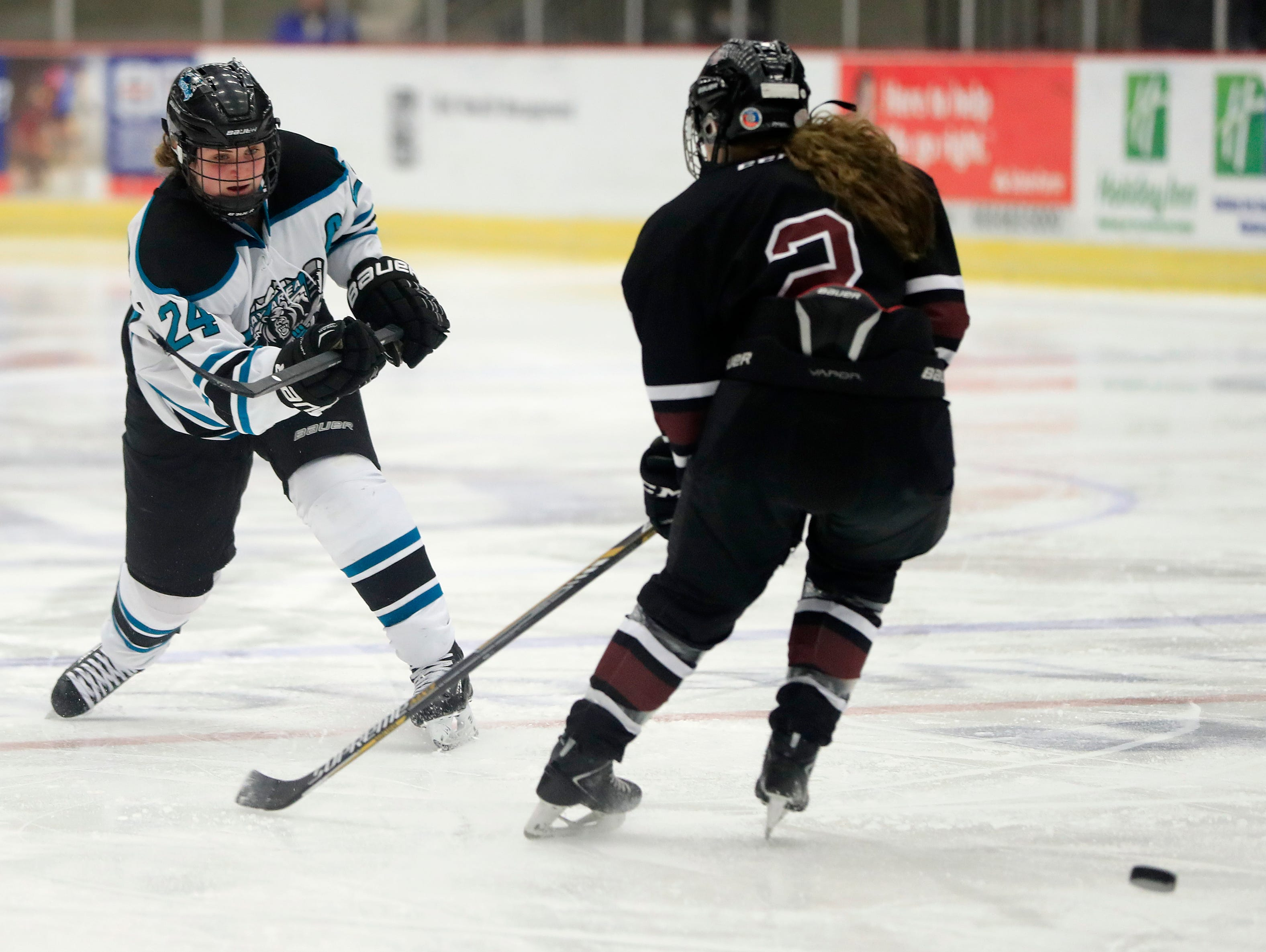 Bay Area Ice Bears defenseman Mia Dunning (24) shoots against the Central Wisconsin Storm in the championship match at the 2017 State Hockey Tournament at Veterans Memorial Coliseum on Saturday, March 4, 2017, in Madison, Wis. The Storm won the match 2-1 in overtime. Adam Wesley/USA TODAY NETWORK-Wisconsin