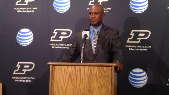 Purdue coach Darrell Hazell at Tuesday's press conference