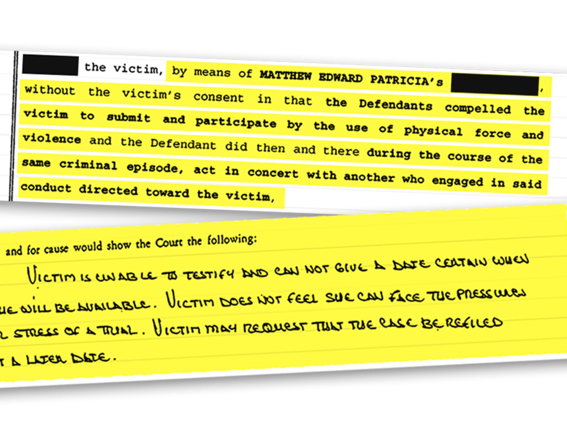 Court documents from Matt Patricia's case show his