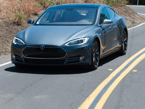 The Tesla Model S out for a test drive in the Hills above Fremont, Calif.