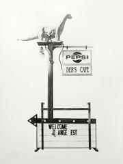 "Joel Daniel Phillips, ""Deb's Cafe,"" charcoal & graphite"