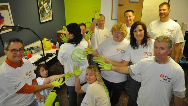Chem-Trend employees painted the Howell Teen Center as a project for Freudenberg Service Day. Employees collected and donated books and school supplies. On Service Days, employees painted and set up the new study area with new furniture, book shelves and lighting.