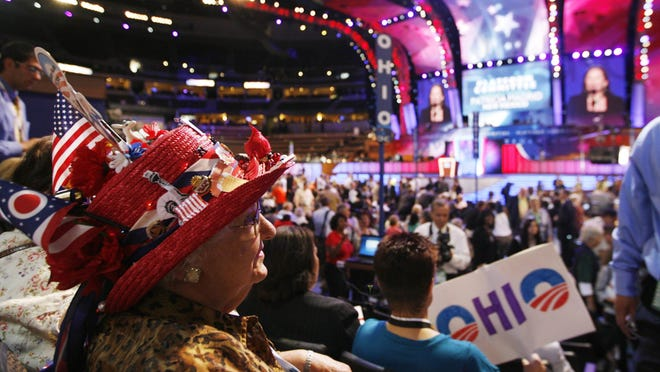 Ohio delegates watch the start of the 2008 Democratic National Convention in Denver. Delegates will gather digitally in 2020 because of the COVID-19 outbreak, making it harder for candidates planning statewide runs in 2022 to network.