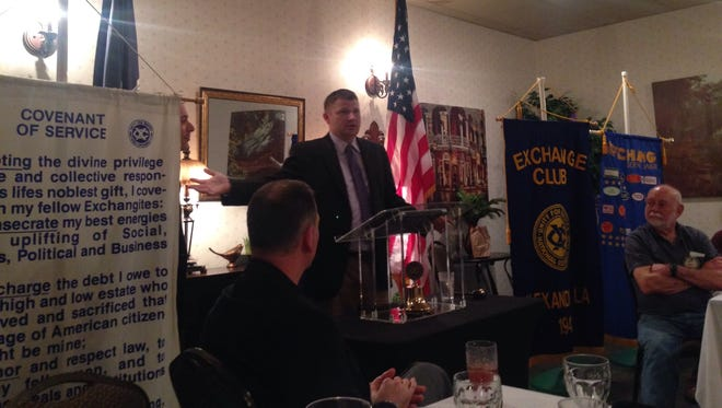 Lt. Chad Gremillion of Louisiana State Police's Human Trafficking/Child Exploitation unit, speaks Thursday to members of the Alexandria Exchange Club.