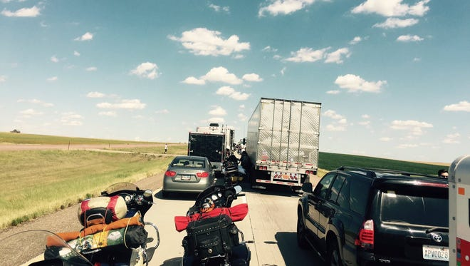 Traffic slowed on I-90 near Presho after a motorcycle crash.