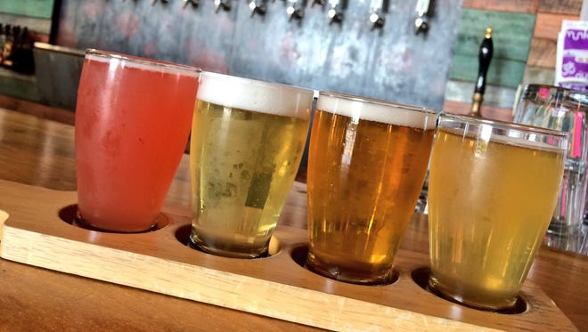 Taste a flight of four, with options like Maibock, Gose, Pink Drink and Hi-Wire Lager.